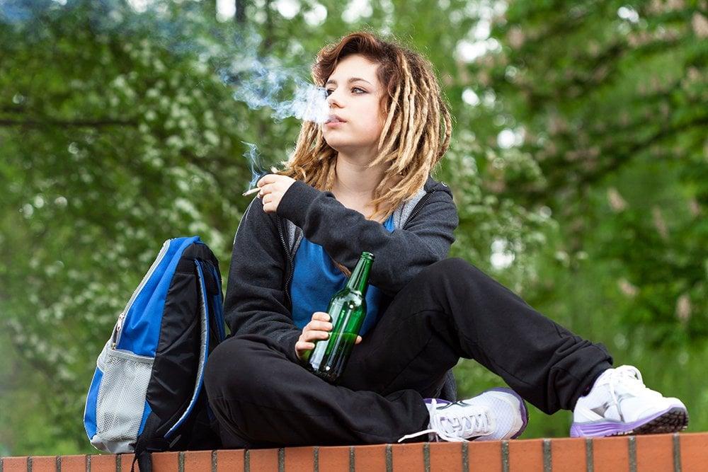 teenager smoking cannabis