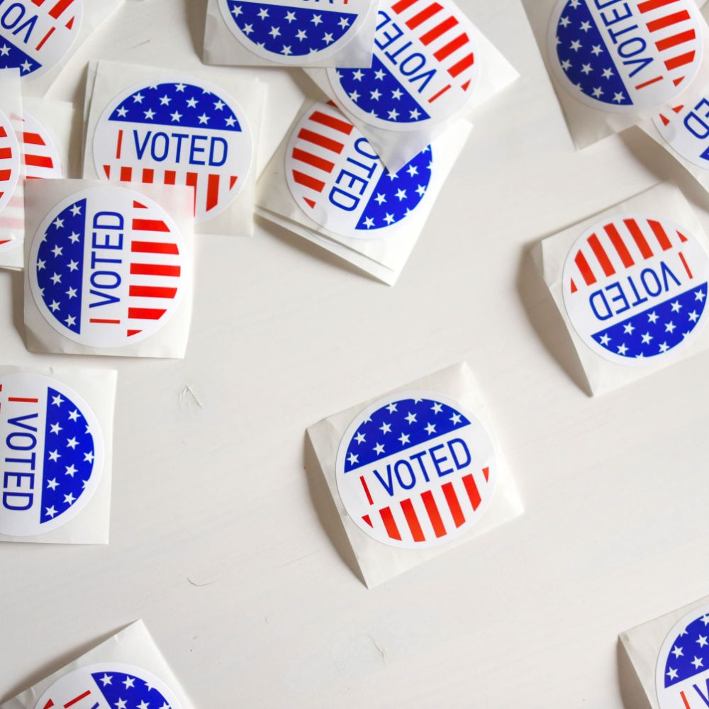 I voted stickers with the American flag